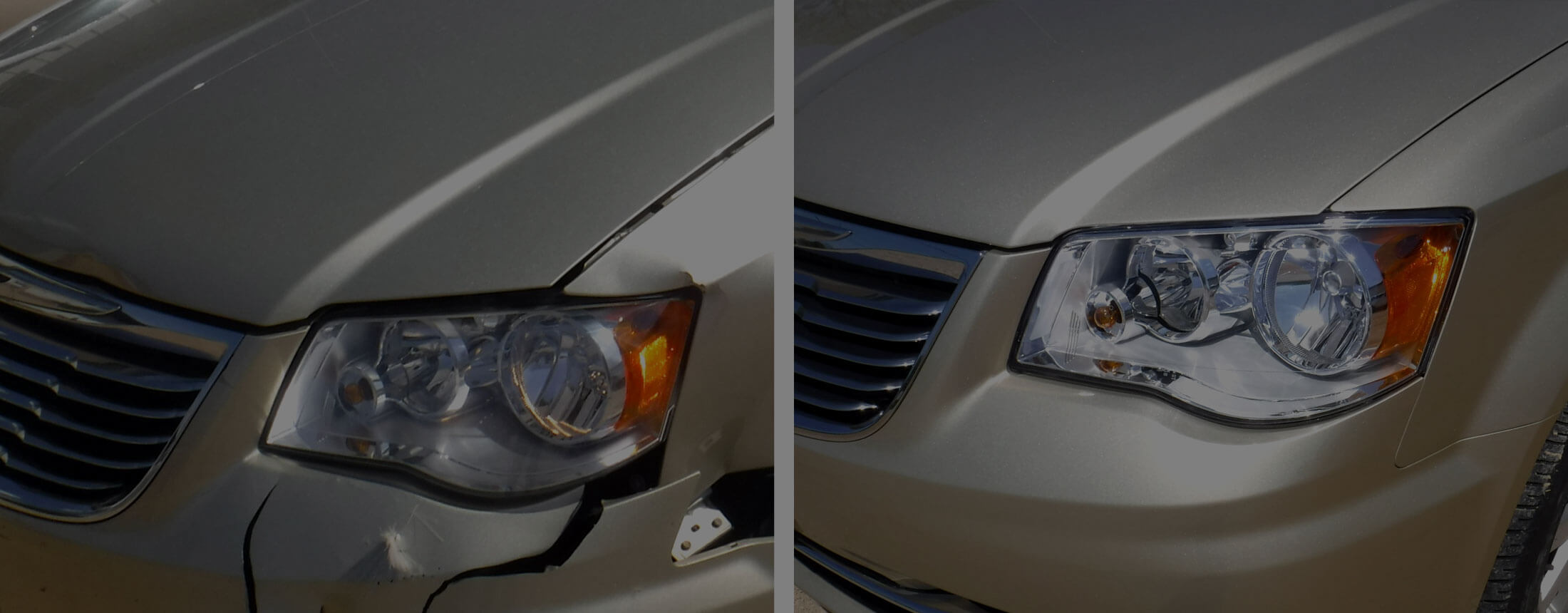 Before and after photos of a van with a damaged front bumper and headlight repaired by Wayne's Auto Body